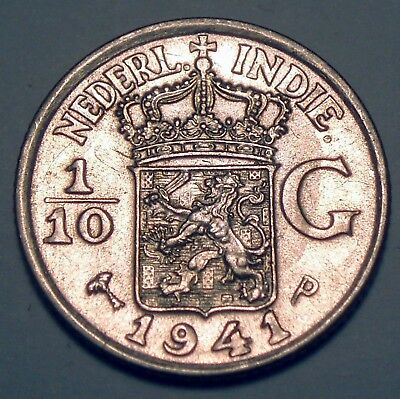 NETHERLANDS EAST INDIES 1/10 GULDEN 1941 P Philadelphia Mint, Silver K1.5