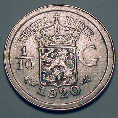 NETHERLANDS EAST INDIES 1/10 GULDEN 1920 Silver K1.5