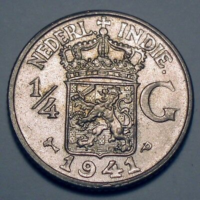 NETHERLANDS EAST INDIES 1/4 GULDEN 1941 P Philadelphia Mint, Silver K8.4