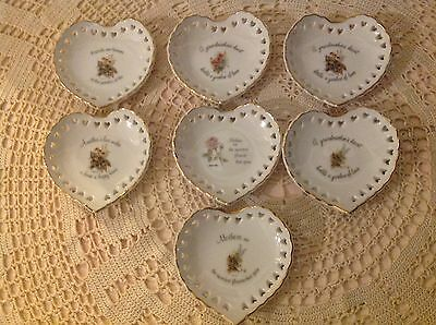 "ROBERT LAESSIG ""ARTISTIC INSPIRATIONS"" SET OF 7 HEART SHAPED DISHES - 1970s"