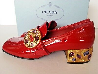 NEW PRADA Patent Embellished Jeweled 35mm Loafer Shoes Pump Red 37