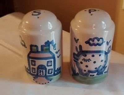 M.A. Hadley Pottery Country Scene Farm House & Pig Salt Pepper Shakers
