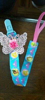 """Disney princess  Pacifier Clip with butyerfly is 11"""". #8"""