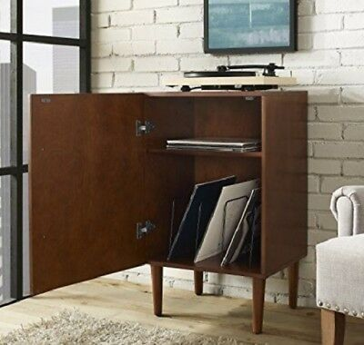 Midcentury Turntable Cabinet Stand Record Player Vinyl Storage Wood Mahogany