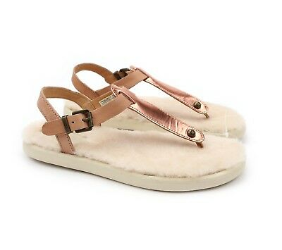0b461dc0ad1 UGG LOU LOU Rose Gold Leather Fluffie Womens Sandals Size Us 8/uk ...