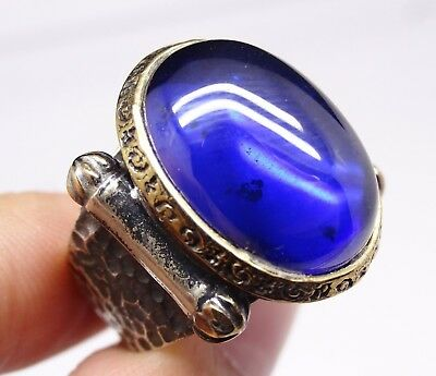 Turkish 925 sterling silver blue sapphire stone mens ring sz 10 us FREE RESIZE #