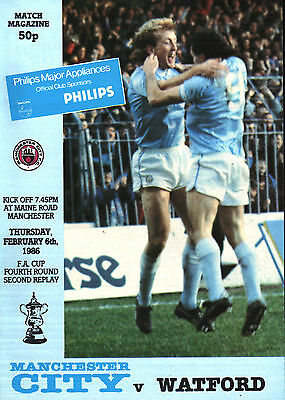 1985/86 Manchester City v Watford, FA Cup, PERFECT CONDITION