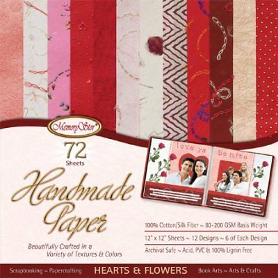 Handmade Scrapbooking & Papercrafting Paper ~ 72 sheets HEARTS & FLOWERS