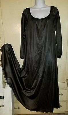 Vintage Long - Sweeping Silky Black Nylon Nightgown Xxl, Plus Excl't