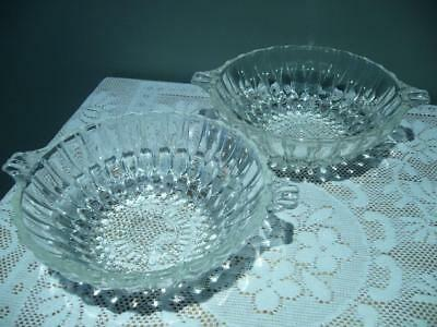 Art Deco Serving Bowls X 2 With Shell / Tab Handles - Vintage - Clear Glass -Vgc