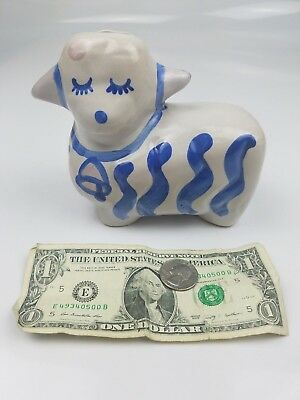 New Hadley Pottery Co Lamb Or Sheep Piggy Bank Custom Art