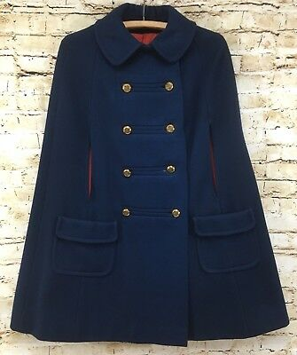 Vintage 1960's Deep Blue Cape Coat By Junior Gallery Peter Pan Collar Union Tag