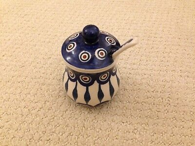 Polish Pottery - Sugar bowl with spoon and lid - Peacock - Excellent Condition