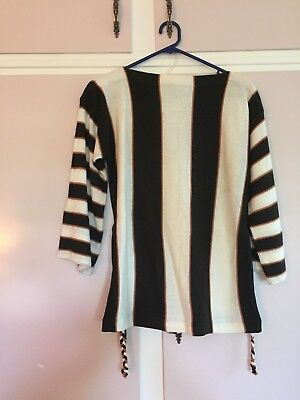Vintage Hippie Brown and Cream striped jumper with plaited belt