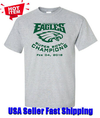 Philadelphia Eagles Super Bowl Championship T-Shirt 2018 Football Free Shipping!