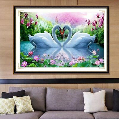 30*45CM Swan Heart Embroidery DIY Full Diamond Plated 5D CrosStitch Painting A