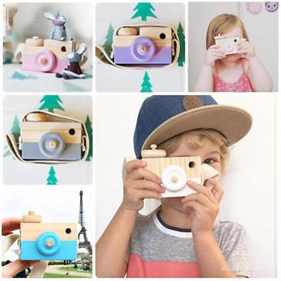 Kids Cute Wood Camera Toy Xmas Children Room Decor Natural Safe Wooden Camera T〃
