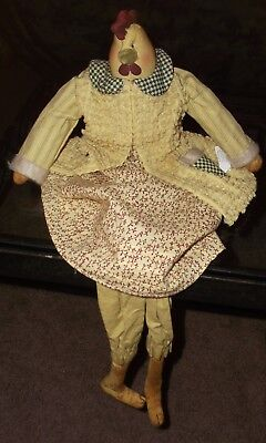 """Chicken Doll Country Kitchen Primitive Folk Art Style with Tag 23"""" Earth Tones"""