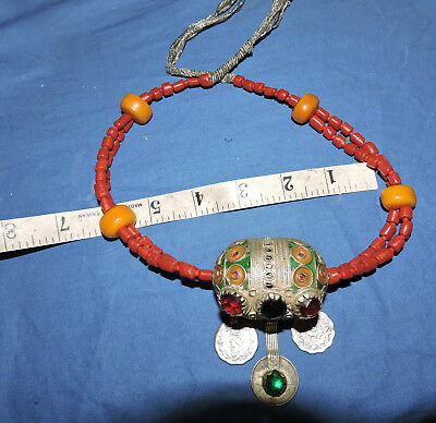 t  Big Taguemout egg pendant from Morocco Stunning cut glass cabochons in red an