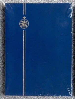 A4* Blue Compass Stamp StockBook Album - 8 Pages/ 16sides ~WHITE PAGES