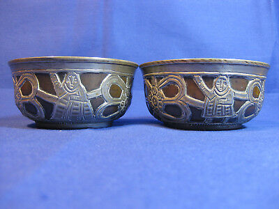 Pair Of Antique Tibetan Silver & Burlwood Tea Bowl Silver Repousse Decoration
