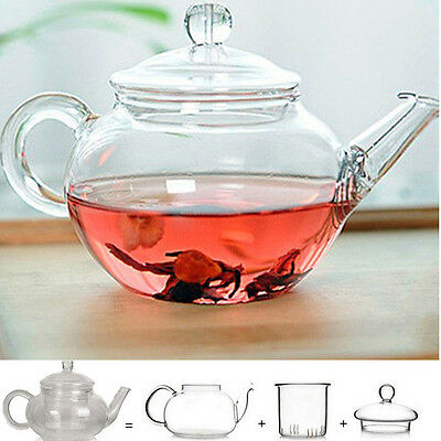Heat Resistant Clear Glass Teapot With Infuser Coffee Tea Leaf Herbal Pot (N)