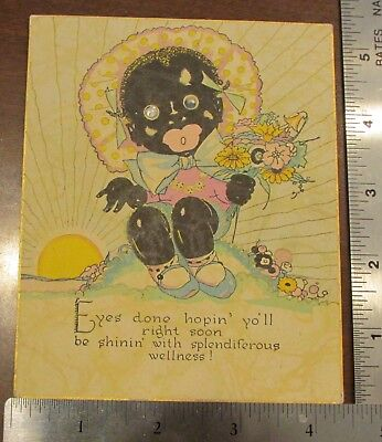 1940s Black Americana Rhinestone Eye Eyes Done Hopin yo'll right soon Card