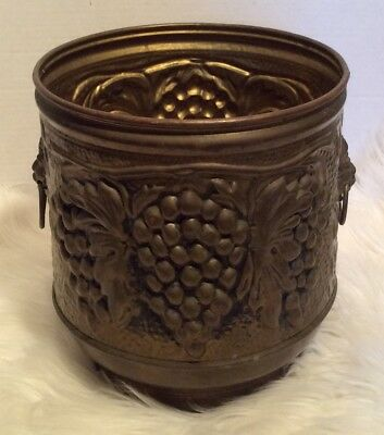 Vintage large Brass Planter Made in England Grapes Lion Handles  Fireplace Pot