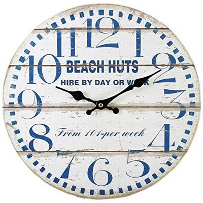 Large Beach Huts Wall Clock In Vintage, Antique, Retro, Aged Style