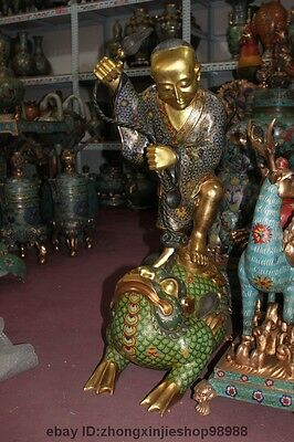 China Pure Bronze Gilt Cloisonne LiuHai Play Gold Toad Wealth Gold buddha Statue