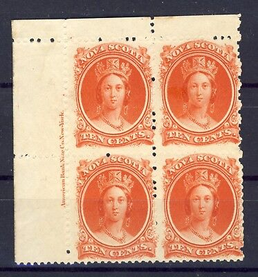 Canada - Nova Scotia stamps # 12 10c Vermillion Inscription block of 4. MNH Fine