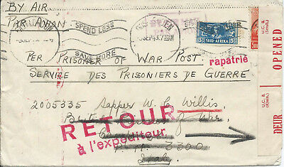 South Africa 1943 WW2 9d Censored Airmail Cover from East London to POW in Italy