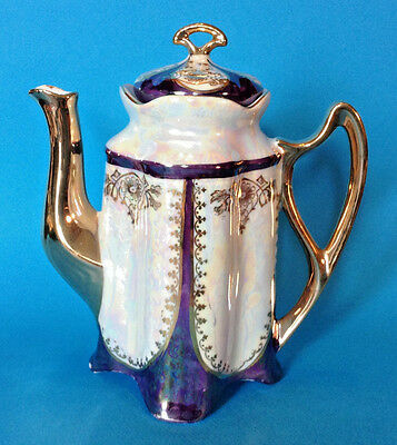 Iridescent Cobalt Blue And White Coffee Teapot With Gilding By FIC Co NY Germany
