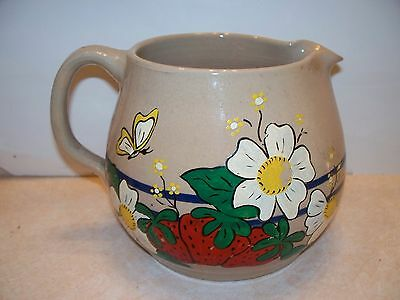 Vintage Stoneware Crock Pitcher Cobalt Blue Bands Painted Flowers Strawberries