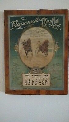 Antique Capewell horse race advertising calendar January 1903