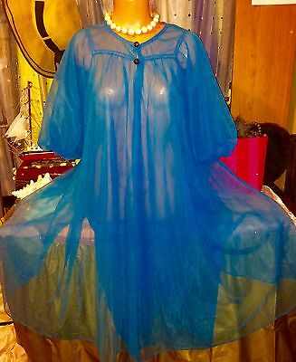 Vintage 50's Victorian Puff Sexy Chiffon Sheer Peignoir Sweep Jewel Robe S M L