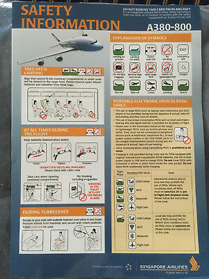Singapore Airlines Airbus A380 Safety Card Star Alliance