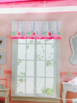 "Girls Pink Multi-Color Bouquet Flowers Stripes Window Valance 17"" x 60"""