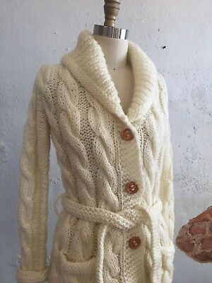 Vtg Chunky Cable Knit Cardigan Sweater Shawl Collar Waist Tie PENROSE Ivory Sm