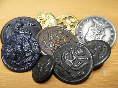 Lot of Military Buttons WW I and WW II  Antique Vintage Coat and Cuff Size