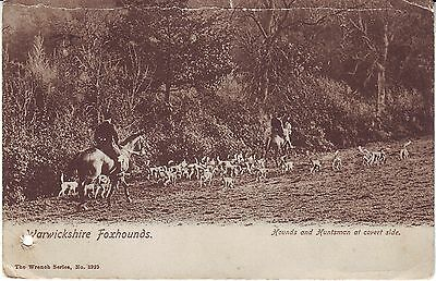 UK Warwickshire Foxhounds and Huntsman at cover side 1904 mailed postcard