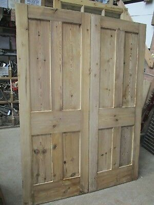 "Victorian PAIR of four panel pine door wardrobe double doors 54 1/2"" x 73 3/4"""