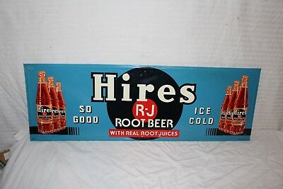 "Vintage c.1950 Hires Root Beer Soda Pop Gas Station 40"" Embossed Metal Sign~Nice"