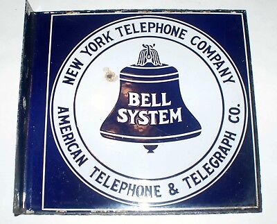 Original Porcelain AT&T New York Telephone Double Sided Flanged Sign