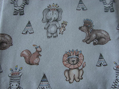 Flannelette Grey Fitted Tribal Animals Cot Sheet Handmade