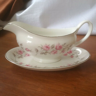 Johnson Brothers Snowhite Gravy Boat - Pink Roses with Silver Leaves