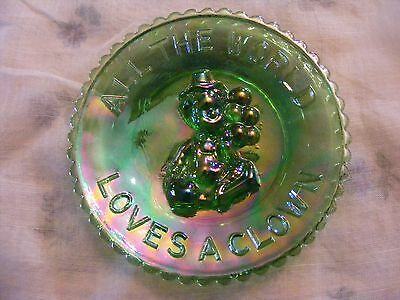 "Mosser  ""all The World Loves A Clown"" Green Iridescent Glass Plate"