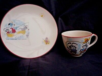 Vintage 2 pc Ridgway Potteries Huckleberry Hound and Friends Cartoon Cup & plate