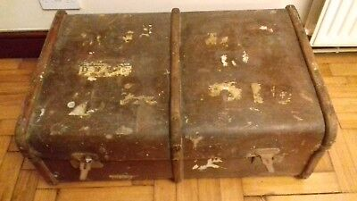 LARGE Old Vintage TRAVEL TRUNK Steamer Chest Table WOODEN BANDED  Shabby Chic