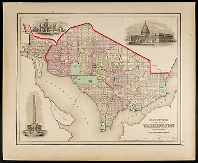 Colton, Antique Map of 1857 : Georgetown and the city of Washington [Original]